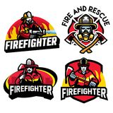 Firefighter badge design set. Vector of firefighter badge design set Stock Photography