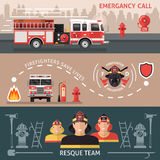 Firefighter Banner Set. Three horizontal colored firefighter banner set with inscriptions of emergency call firefighters save lives and resque team vector Stock Images
