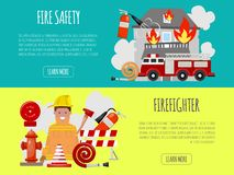 Firefighter banner vector illustration. Firefighting equipment firehose hydrant and extinguisher. Fireman in uniform. With helmet and engine near house. Safety vector illustration