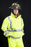 Firefighter on Black Stock Photography