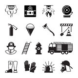 Firefighter black icons. Fireman and fire equipment, alarm and fire axe signs. Vector illustration Stock Image