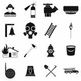 Firefighter black simple icons set. On white background Stock Photo