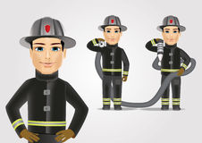 Firefighter in black uniform with fire hose. Portrait of firefighter in black uniform holding fire hose  on white background Stock Photo