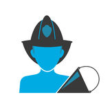 Firefighter blue icon. Blue icon of firefighter wearing helmet with equipment Stock Photos