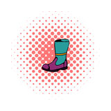 Firefighter boots icon, comics style. Firefighter boots icon in comics style on a white background Stock Photography