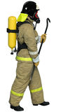 Firefighter breathing apparatus. Fireman in a self contained breathing apparatus with a crowbar in his hand stock images