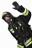 Firefighter in breathing apparatus gestures Ok Royalty Free Stock Image