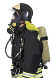 Firefighter in breathing apparatus Stock Images