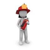Firefighter. The firefighter brings a fire extinguisher for all cases with Stock Image