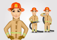 Firefighter in brown uniform holding fire hose Stock Image