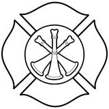 Firefighter Bugle Badge Illustration. A vector illustration of a Firefighter Bugle Badge Royalty Free Stock Photo