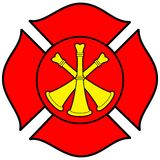 Firefighter Bugle Badge. A vector illustration of a Firefighter Bugle Badge Stock Photos