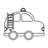 Firefighter car drawing icon Stock Photo