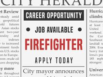Firefighter job ad. Firefighter career - job hiring classified ad vector in fake newspaper Royalty Free Stock Photos