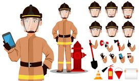 Firefighter in professional uniform and safe helmet. Firefighter cartoon character creation set. Handsome Fireman in in professional uniform and safe helmet Stock Image