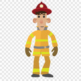 Firefighter cartoon character. On transparent background Royalty Free Stock Photos
