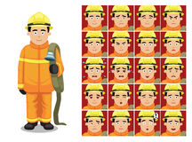 Firefighter Cartoon Emotion faces Vector Illustration. Cartoon Emoticons EPS10 File Format Stock Photography