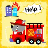 Firefighter cartoon with funny fireman. Rhino the funny fireman on duty with red fire truck. Vector cartoon illustration, no mesh, vector on eps 10 Stock Photography