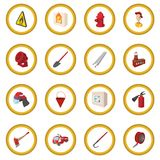 Firefighter cartoon icon circle Stock Photo