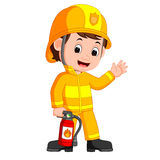 Firefighter cartoon. Illustration of cute firefighter cartoon Stock Image