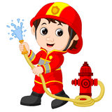 Firefighter cartoon. Illustration of funny firefighter cartoon Royalty Free Stock Images
