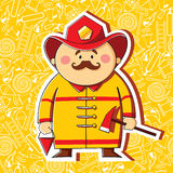 Firefighter. Cartoon firefighter on the thematic background Stock Photos
