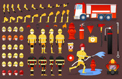 Firefighter Character Creation Constructor. Man in Different Poses. Male Person with Faces, Arms, Legs, Hairstyles. Vector illustration Royalty Free Stock Photos