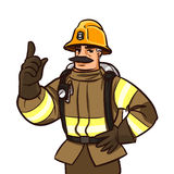 Firefighter. Character giving advice. cartoon illustration isolated on white Stock Image