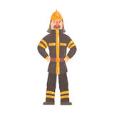 Firefighter character in safety helmet and protective suit standing cartoon vector Illustration. Isolated on a white background Royalty Free Stock Photography