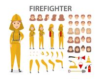 Firefighter character set. Female firefighter character set. Poses and emotions Royalty Free Stock Image