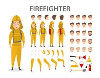 Firefighter character set. Male firefighter character set. Poses and emotions Stock Images