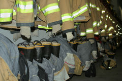 Firefighter clothing. Row of firefighter clothing, Milford, Nebraska Stock Photos
