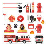 Firefighter  Colored Icon Set. With tools accessories and vehicles for firefighting vector illustration Stock Images