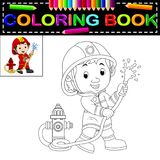 Firefighter coloring book. Illustration of firefighter coloring book Royalty Free Stock Photos
