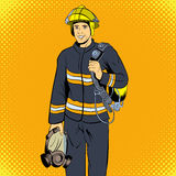 Firefighter comics character. Single illustration on the yellow pop-art style background Stock Photos