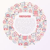 Firefighter concept in circle with thin line icons. Fire, extinguisher, axes, hose, hydrant. Modern vector illustration for banner, web page, print media Stock Photography