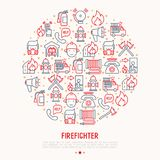 Firefighter concept in circle with thin line icons. Fire, extinguisher, axes, hose, hydrant. Modern vector illustration for banner, web page, print media Stock Photos