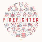 Firefighter concept in circle with thin line icons. Fire, extinguisher, axes, hose, hydrant. Modern vector illustration for banner, web page, print media Stock Images