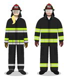 Firefighter concept. Couple of fireman and firewoman standing together on white background in flat style. Flat design people  Royalty Free Stock Image