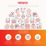 Firefighter concept in half circle. With thin line icons: fire, extinguisher, axes, hose, hydrant. Modern vector illustration for banner, web page, print media Royalty Free Stock Photography
