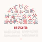 Firefighter concept in half circle. With thin line icons: fire, extinguisher, axes, hose, hydrant. Modern vector illustration for banner, web page, print media Stock Photos