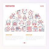 Firefighter concept in half circle. With thin line icons: fire, extinguisher, axes, hose, hydrant. Modern vector illustration for banner, web page, print media Royalty Free Stock Photo