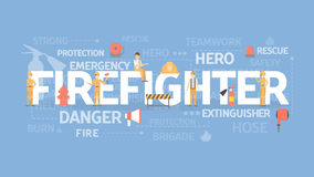Firefighter concept illustration. Idea of emergency, protection and safety Stock Photography