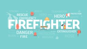 Firefighter concept illustration. Idea of emergency, protection and safety Stock Image