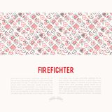 Firefighter concept with thin line icons. Fire, extinguisher, axes, hose, hydrant. Modern vector illustration for banner, web page, print media Stock Images