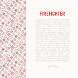 Firefighter concept with thin line icons. Fire, extinguisher, axes, hose, hydrant. Modern vector illustration for banner, web page, print media Royalty Free Stock Images