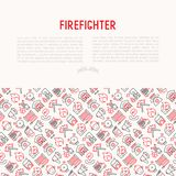 Firefighter concept with thin line icons. Fire, extinguisher, axes, hose, hydrant. Modern vector illustration for banner, web page, print media Royalty Free Stock Photo