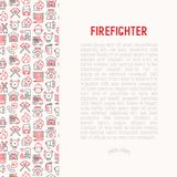 Firefighter concept with thin line icons. Fire, extinguisher, axes, hose, hydrant. Modern vector illustration for banner, web page, print media Stock Image