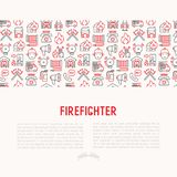 Firefighter concept with thin line icons. Fire, extinguisher, axes, hose, hydrant. Modern vector illustration for banner, web page, print media Stock Photos