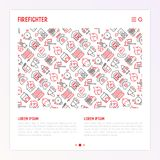 Firefighter concept with thin line icons. Fire, extinguisher, axes, hose, hydrant. Modern vector illustration for banner, web page, print media with place for Royalty Free Stock Photography